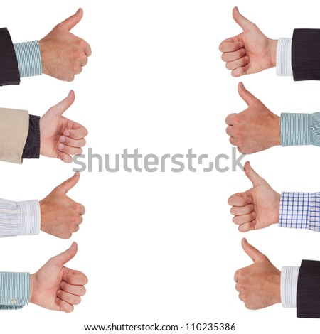 Hands in a row with thumbs up - stock photo
