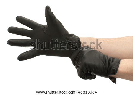 Hands in black gloves isolated on white background