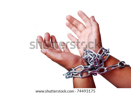 Hands in chain isolated - stock photo
