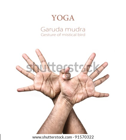 Hands in Garuda mudra by Indian man isolated at white background. Gesture of mystical bird. Free space for your text