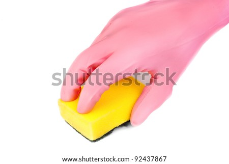 hands in glove with latex  holding sponge add bowl isolated on white