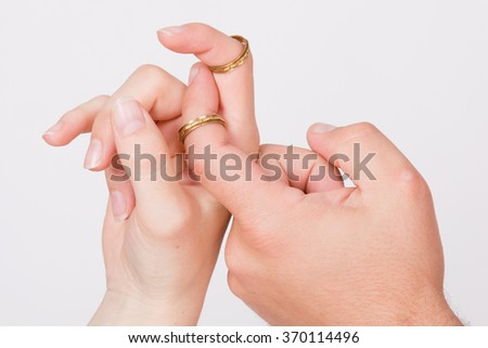 Hands in love - Wedding ring with human hand  - stock photo