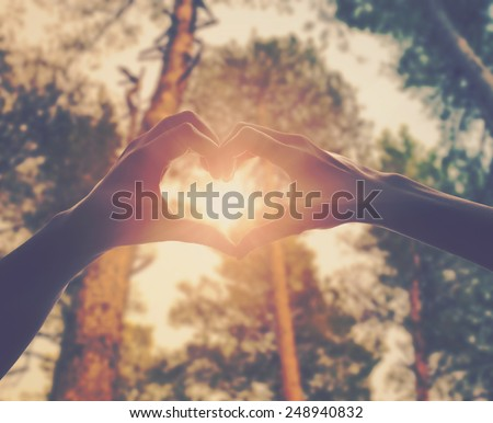 hands in shape of love heart - stock photo