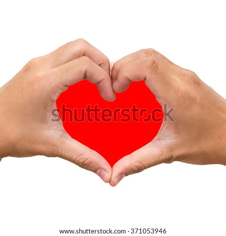 Hands in the form of red heart isolated on white background - stock photo