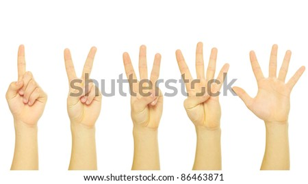 hands isolated on a white