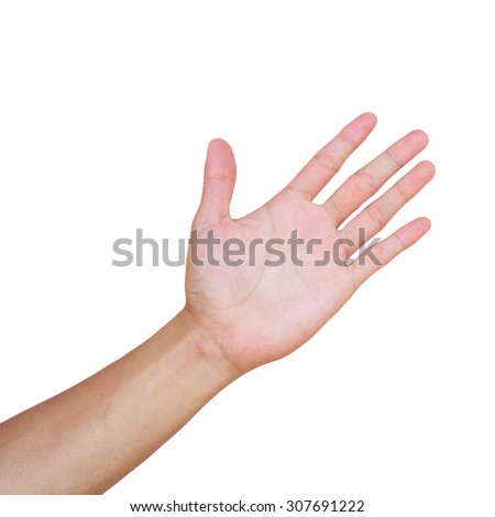 Hands isolated on white background - stock photo