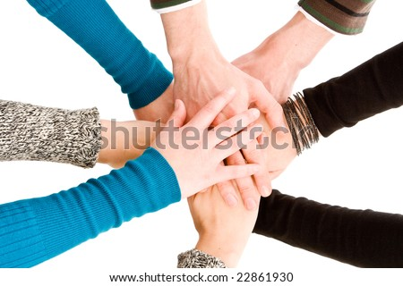 Hands joined together isolated on white - stock photo