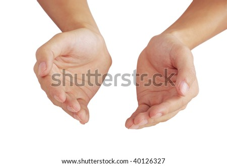 Hands joined together on the white - stock photo