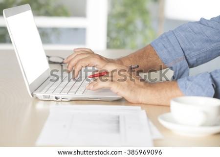 hands keyboard - stock photo