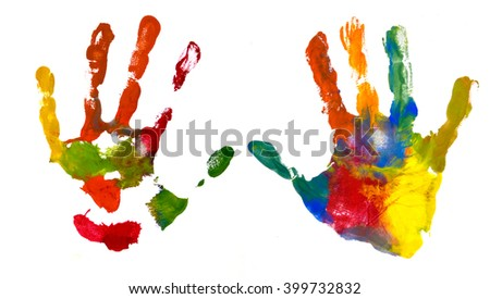 Hands Kid painted, stamped on paper, isolated on white