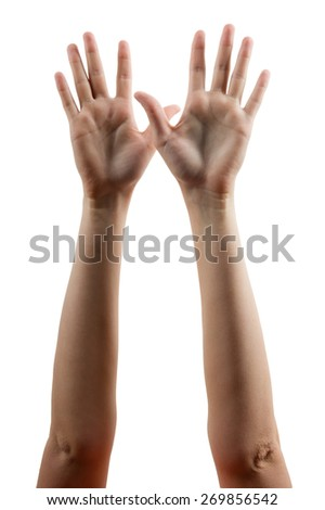 Hands lifted up in the air isolated on white background. Human hands raised up. - stock photo