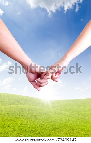 hands linking fingers - stock photo