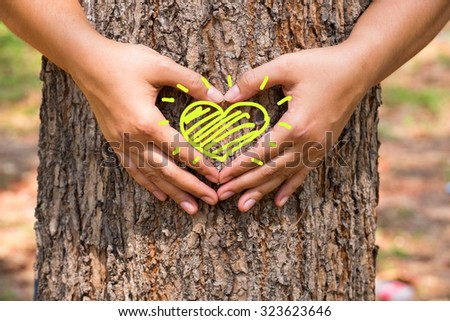 Hands make a heart sign on tree trunk with drawing heart - stock photo