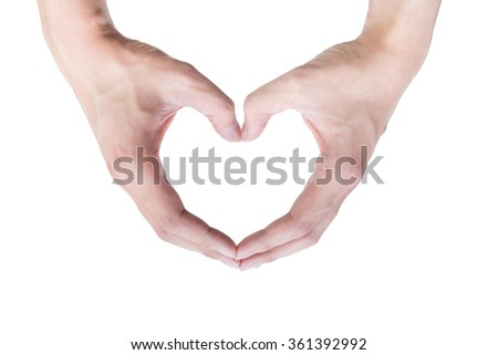 Hands making a heart symbol on the isolated white background.