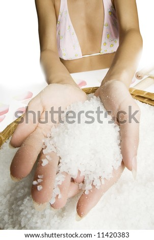 hands making beauty treatment the scrub with salt - stock photo