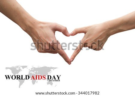 hands making heart shape isolated over white background:symbolic of love,helping,healing :World Aids Day 1 December concept:Human immunodeficiency virus infection:acquired immune deficiency syndrome - stock photo