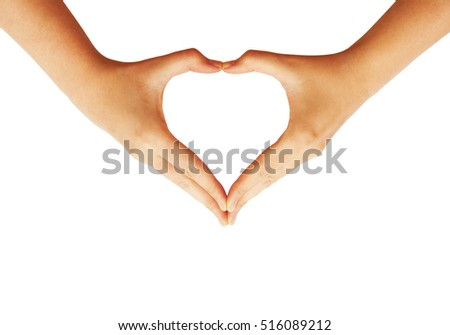 Hands making love heart symbol isolated on white background. Heart shaped hands. Love concept with heart hands.