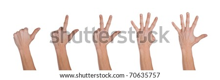 Hands making numbers from 1 to 5. - stock photo