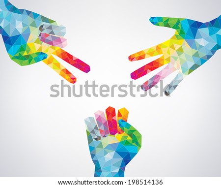 Hands making sign as rock paper and scissors - stock photo