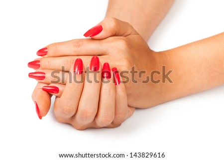 hands manicure on white background - stock photo