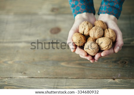 hands of a lady with full of walnuts on wooden background - stock photo