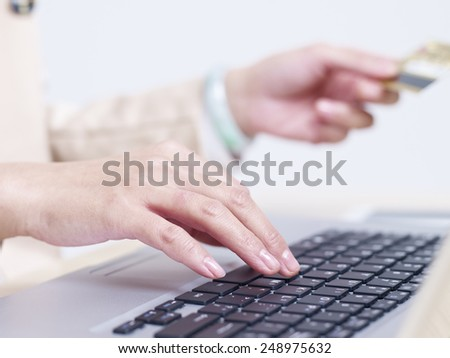 hands of a woman entering credit card numbers. - stock photo