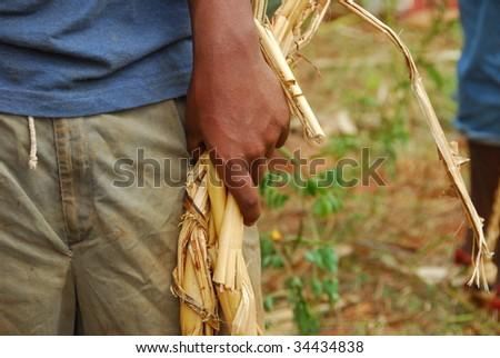 hands of an African man - stock photo