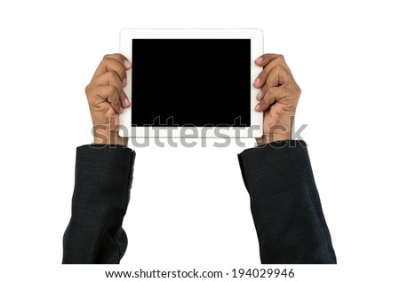 Hands of businessman holding touchpad formation isolated on white with clipping path. - stock photo