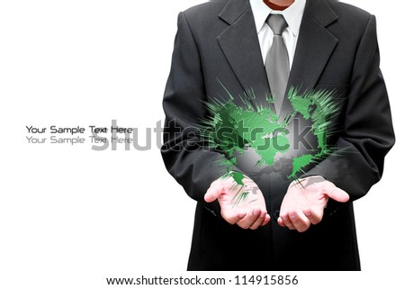 Hands of Businessman holds the Earth - stock photo