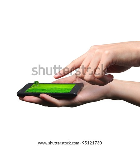 Hands of businessman touch screen mobile phone - stock photo
