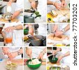 hands of chefs in the process - stock photo