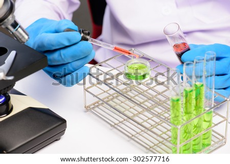 Hands of clinician holding tools during scientific experiment in laboratory