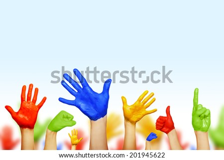 hands of different colors - stock photo