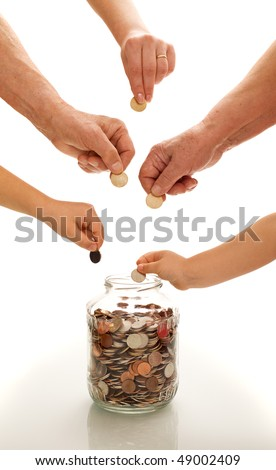 Hands of different generations putting coins in a  glass jar -financial education concept - stock photo