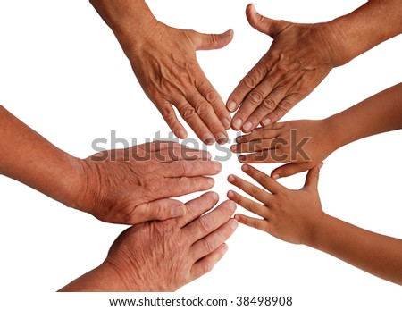 hands of grandmother, grandfather and grandchild