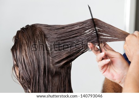 Hands of hairdresser combing client's wet hair in salon