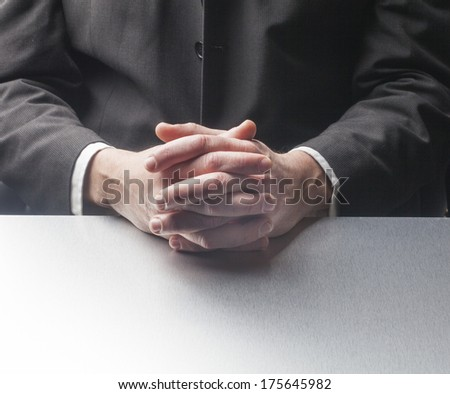 hands of interviewed businessman
