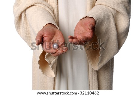Hands of Jesus holding pearl - The Parable of the pearl of great price - stock photo