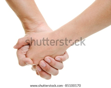 Hands of lovers on a white background.