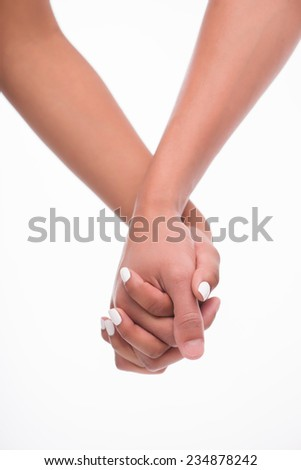 Hands of man and woman getting together. Isolated on white background