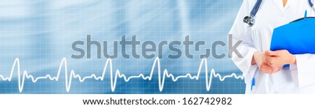 Hands of medical doctor. Healthcare blue background. - stock photo