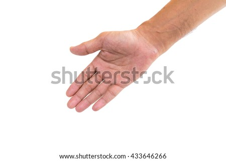 Hands of men the symbol used to show each other a helping hand. - stock photo
