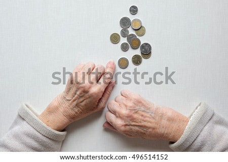 Hands of old woman, counting money (coins of Shekel Israeli ). Poverty concept