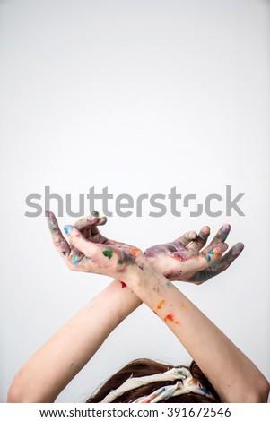 hands of painter - stock photo