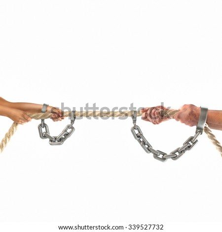 Hands of people pulling the rope on white background.   - stock photo