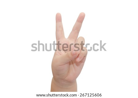 hands of the child isolated on the white background - stock photo