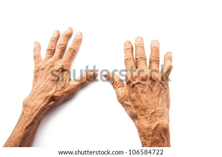 hands of the old man on a white background - stock photo