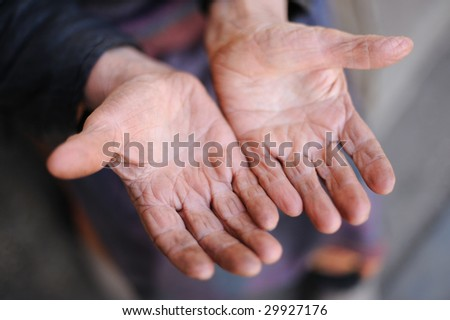 Hands of the old woman - 85 years age. 70 years works in collective farm. Russia.