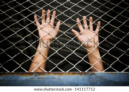 Hands of the prisoner in jail (image toned) - stock photo