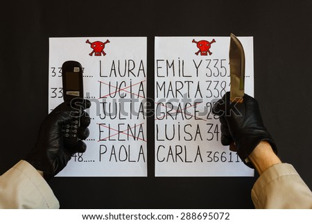 hands of the stalker wrapped in gloves black with the phone  and the knife are the sign of a threat of death for women whose names appear on the list - stock photo